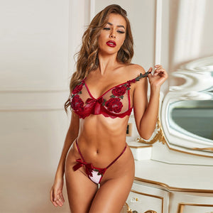 Seductive Valentine's Day Red Lace Set