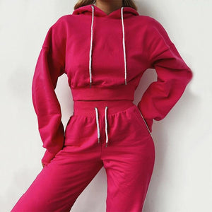 stripe pink crop top sweatsuit