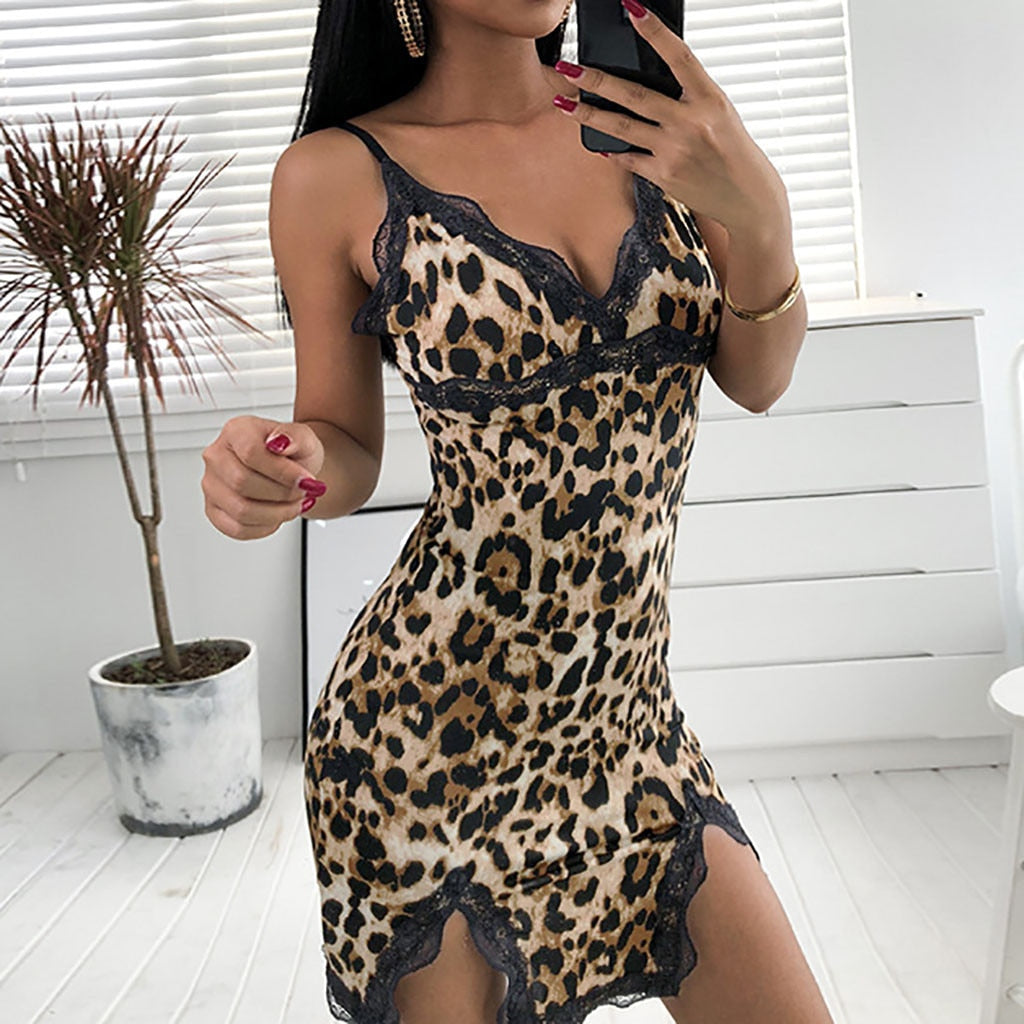 Leopard Lace Nightdress w/ Split