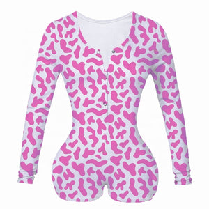 BADDIE ROMPER PINK SHORTS LOUNGEWEAR MIAMI BLVD BOUTIQUE LONG SLEEVE PJS PINK ANIMAL PRINT