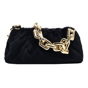 black blk faux fur bag with chain