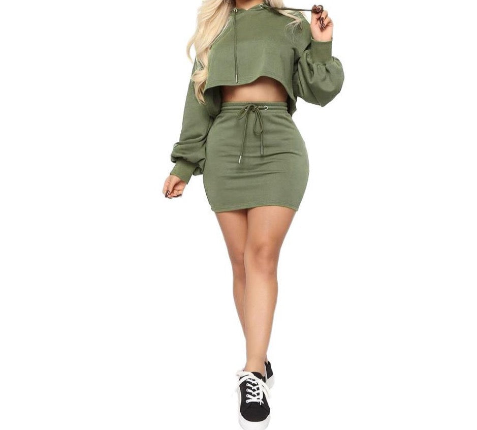 Sweet Hoodie Crop Top Skirt Set