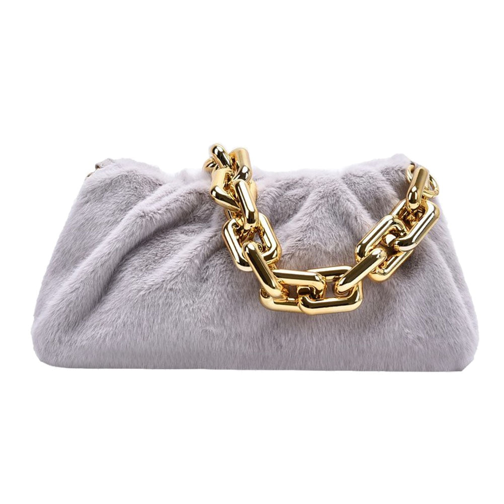grey gray faux fur gold chain handbag miami blvd