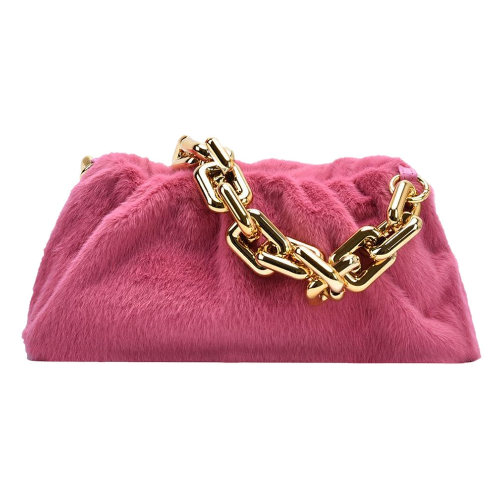 pink faux fur bag with gold chain