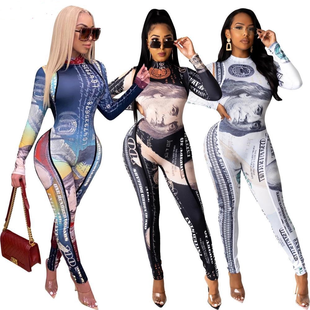 Adogirl Sexy Dollar Print Sheer Mesh Jumpsuit Turtleneck Long Sleeve Skinny High Elastic Romper Night Club Autumn One Piece