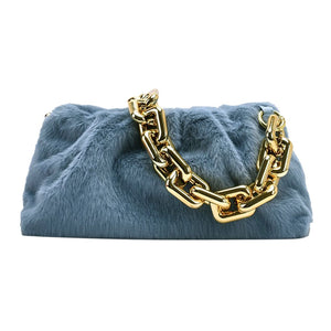 blue faux fur gold chain accent