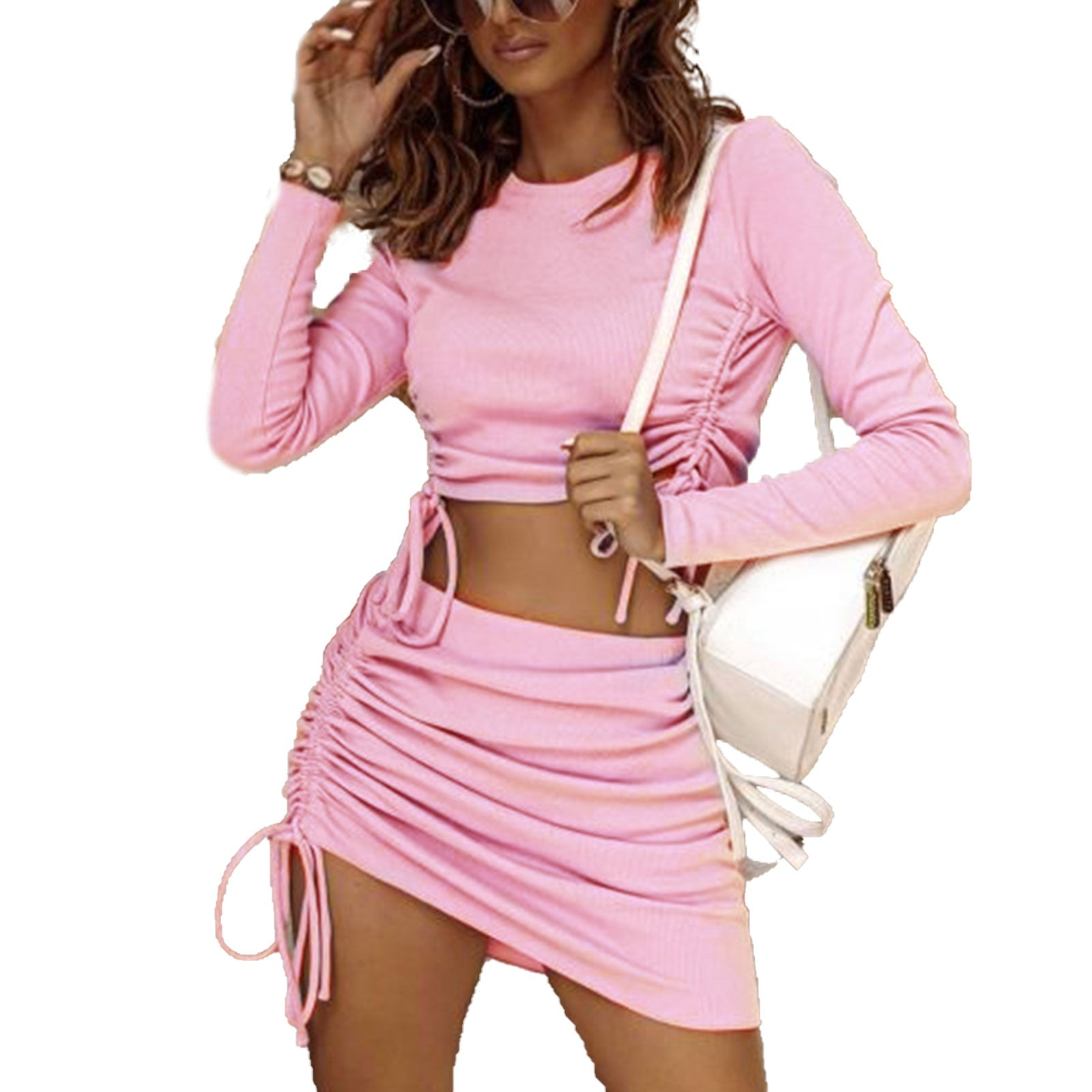 Drawstring Ribbed Skirt Set