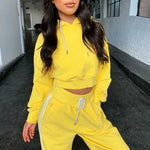 Load image into Gallery viewer, yellow crop top sweatsuit with hoodie