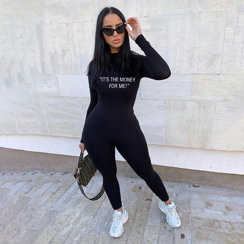 Echoine Womens Casual Letter Print Jumpsuits Workout Active Wear Ribbed  Jumpsuit Sporty Long Sleeve Fitness bodysuits Rompers