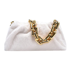 faux fur handbag with gold chain bag miami blvd