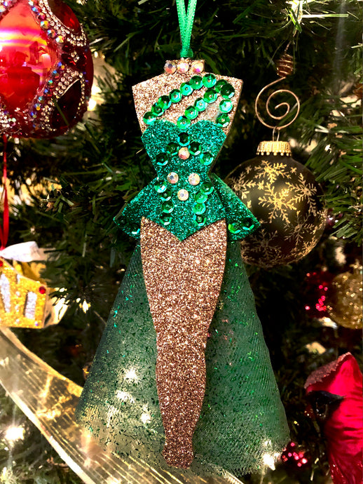 Barrie Chase Green White Christmas Costume Ornament.