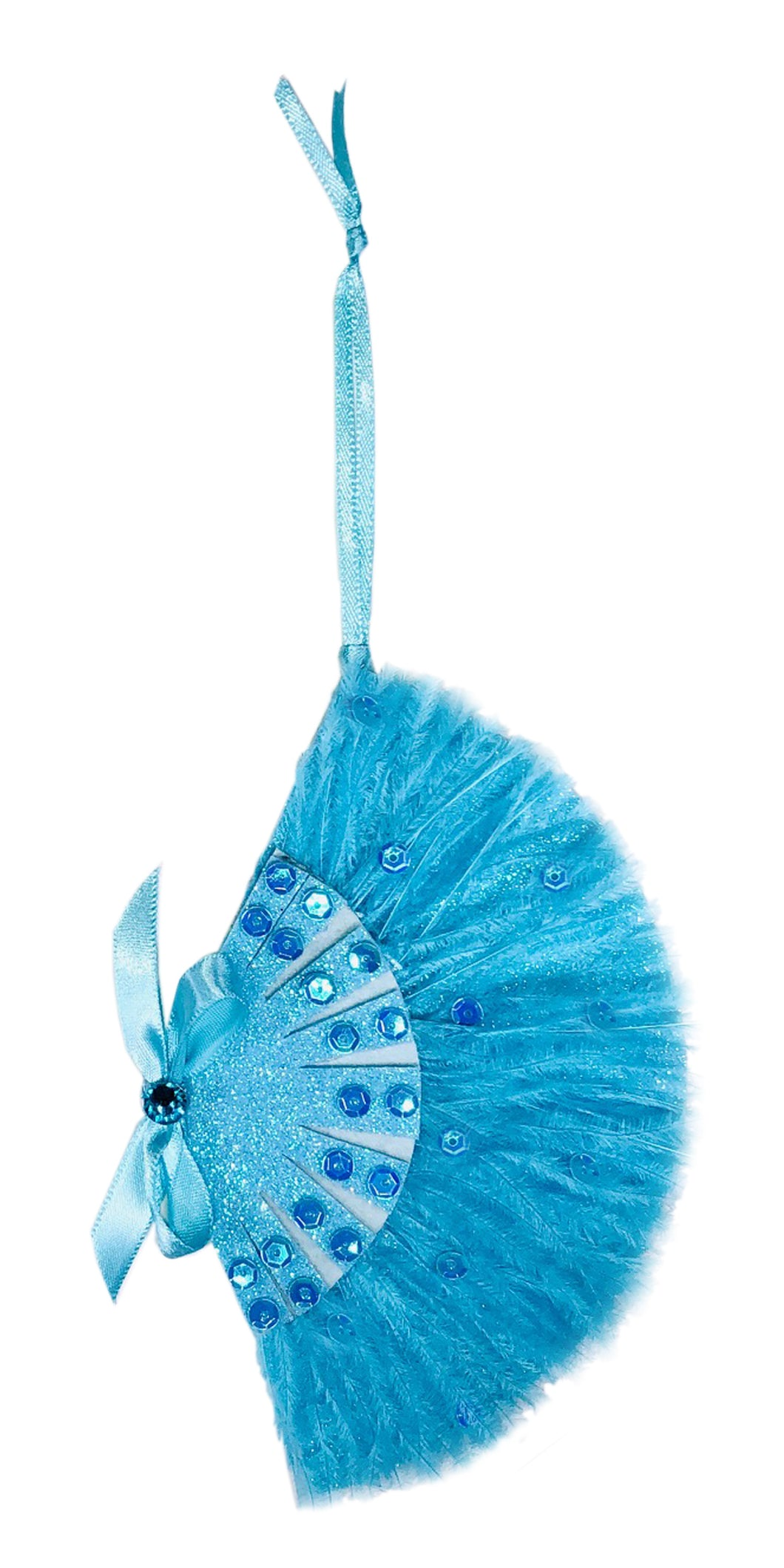Sisters Blue Feather Fan Ornament