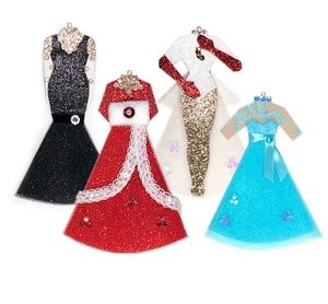 Set of 4 Dreaming of a White Christmas Costume Ornaments