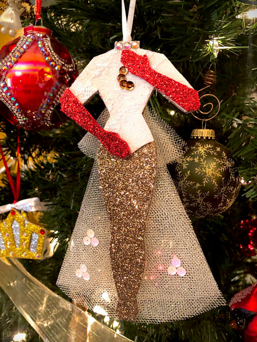 Mandy Costume Christmas Ornament inspired by costume worn by Vera Ellen.