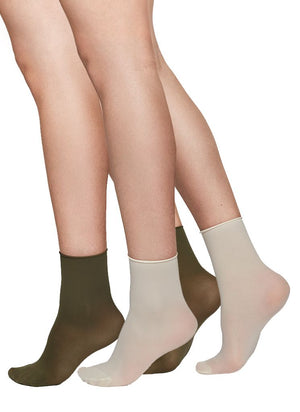 Judith Ankle Sock | 2 Pack (colour/creme) - Alt view