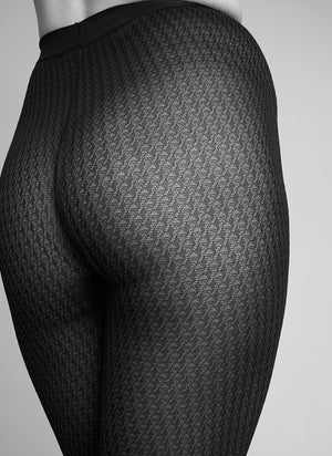 Agnes Houndstooth Tights - Black - Alt view