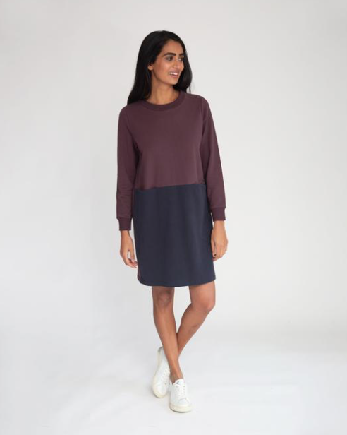 Alexis Organic Cotton Dress - Plum/Navy