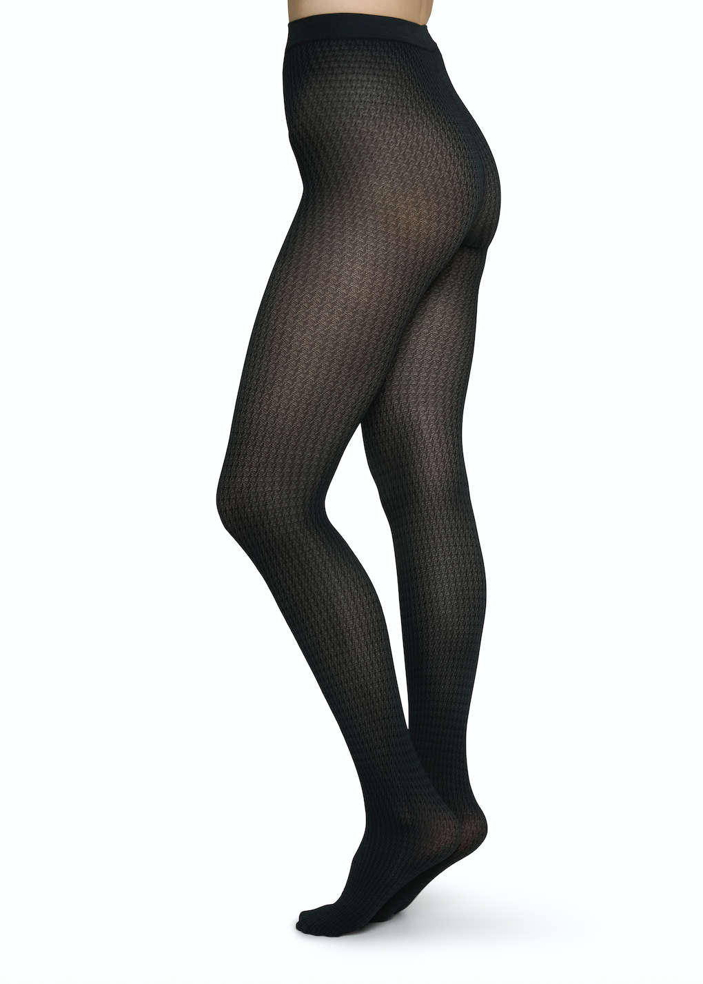 Agnes Houndstooth Tights Black