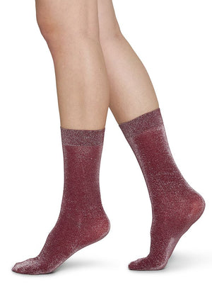 Ines Shimmery Socks - Wine - Alt view
