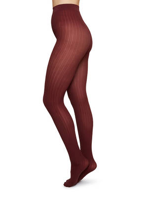 Alma Rib Tights - Wine - Alt view