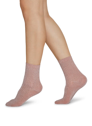 Stella Shimmery Socks - Dusty Rose