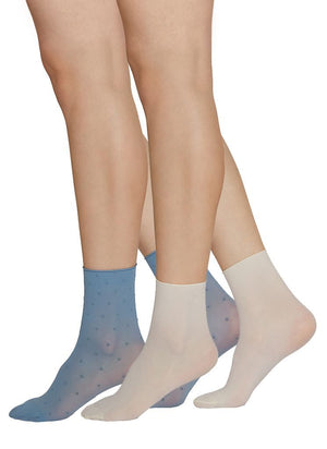 Judith Dots Socks | 2-Pack (dusty blue/ivory uni) - Alt view