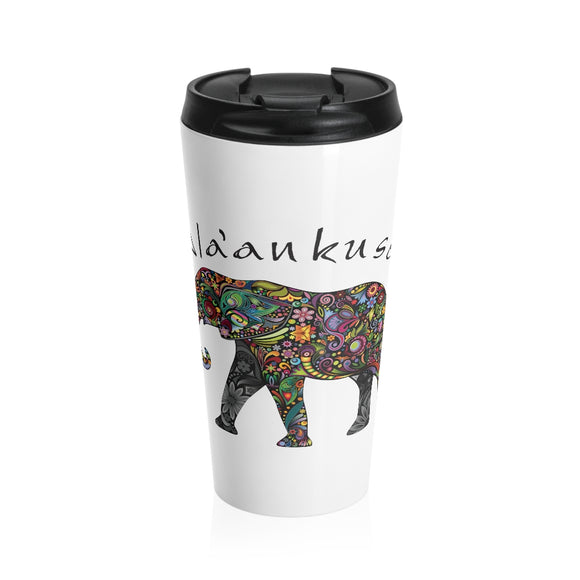 Stainless Steel Travel Mug - Floral Elephant