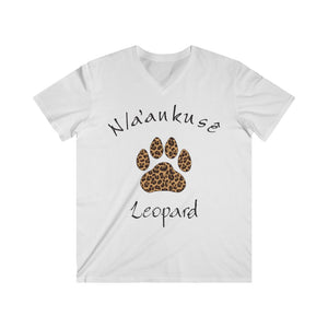 Men's Fitted V-Neck Short Sleeve Tee - Leopard Paw