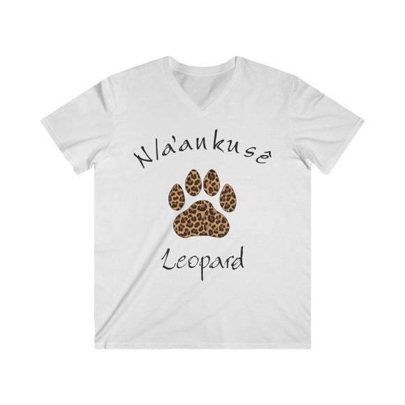 Men's Fitted V-Neck Short Sleeve Tee - Leopard Paw - N/a'an ku sê Online Shop