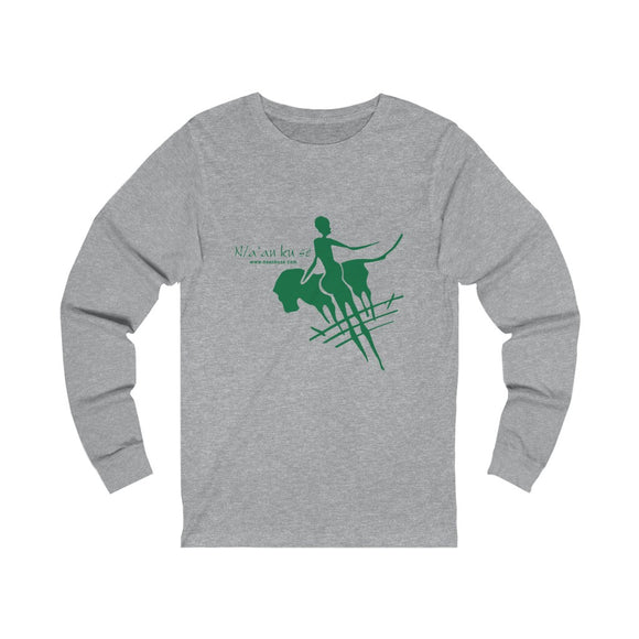 Unisex Jersey Long Sleeve Tee - Big Logo_Green - N/a'an ku sê Online Shop