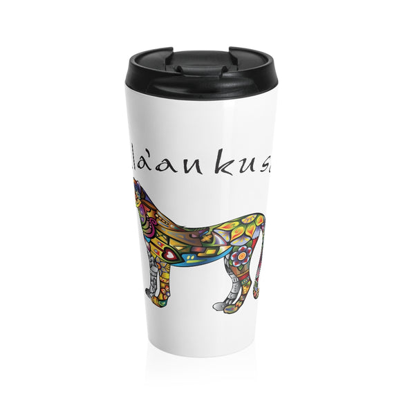 Stainless Steel Travel Mug - Floral Cheetah