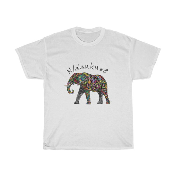 Unisex Heavy Cotton Tee - Floral Elephant
