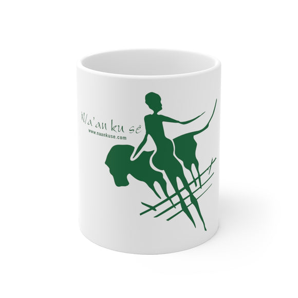 White Ceramic Mug - Big Logo_Green - N/a'an ku sê Online Shop