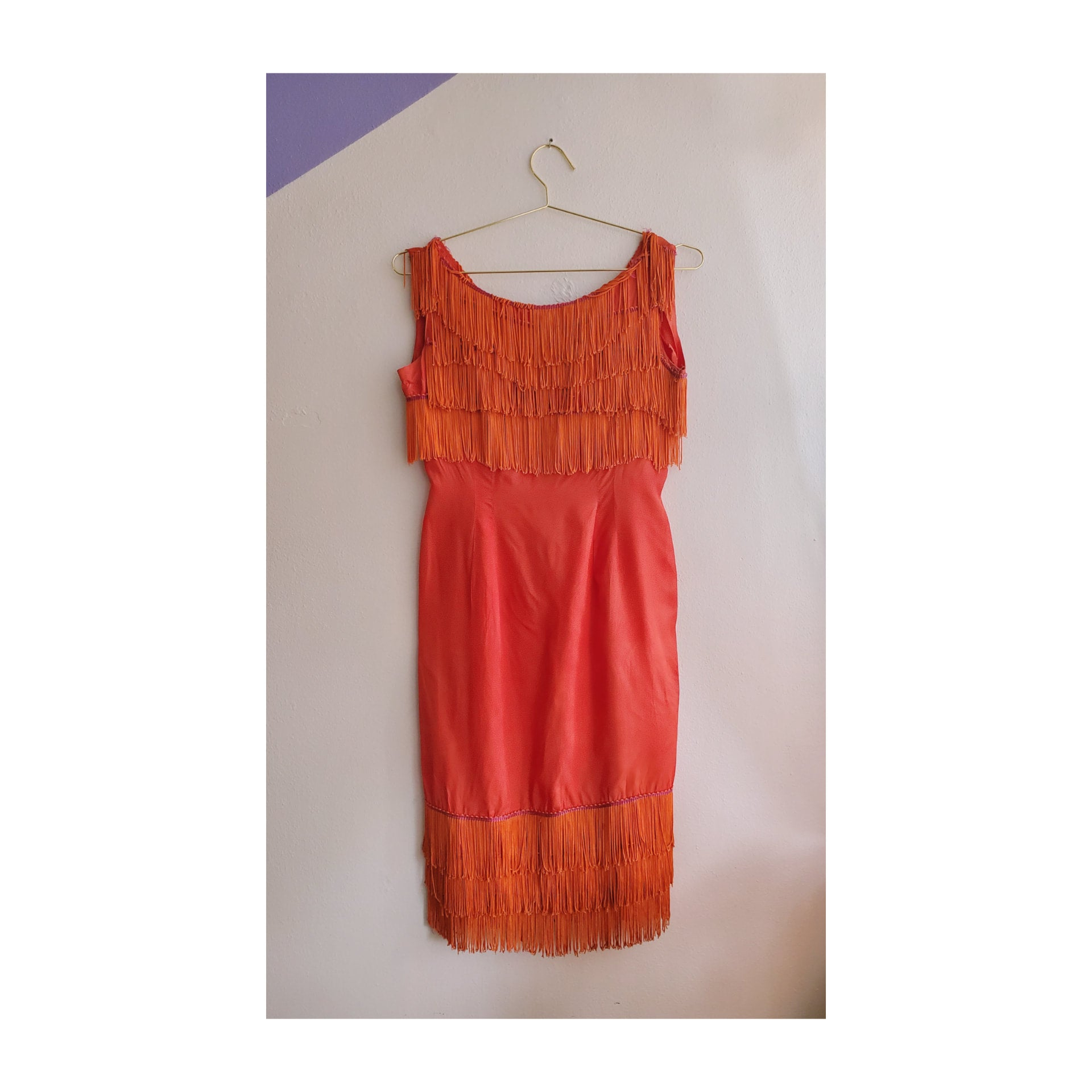60's Fiery Orange Fringe Wiggle Dress