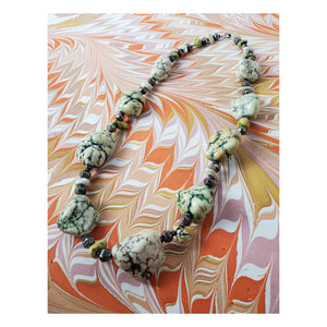 Vintage Chunky Green Stone Necklace