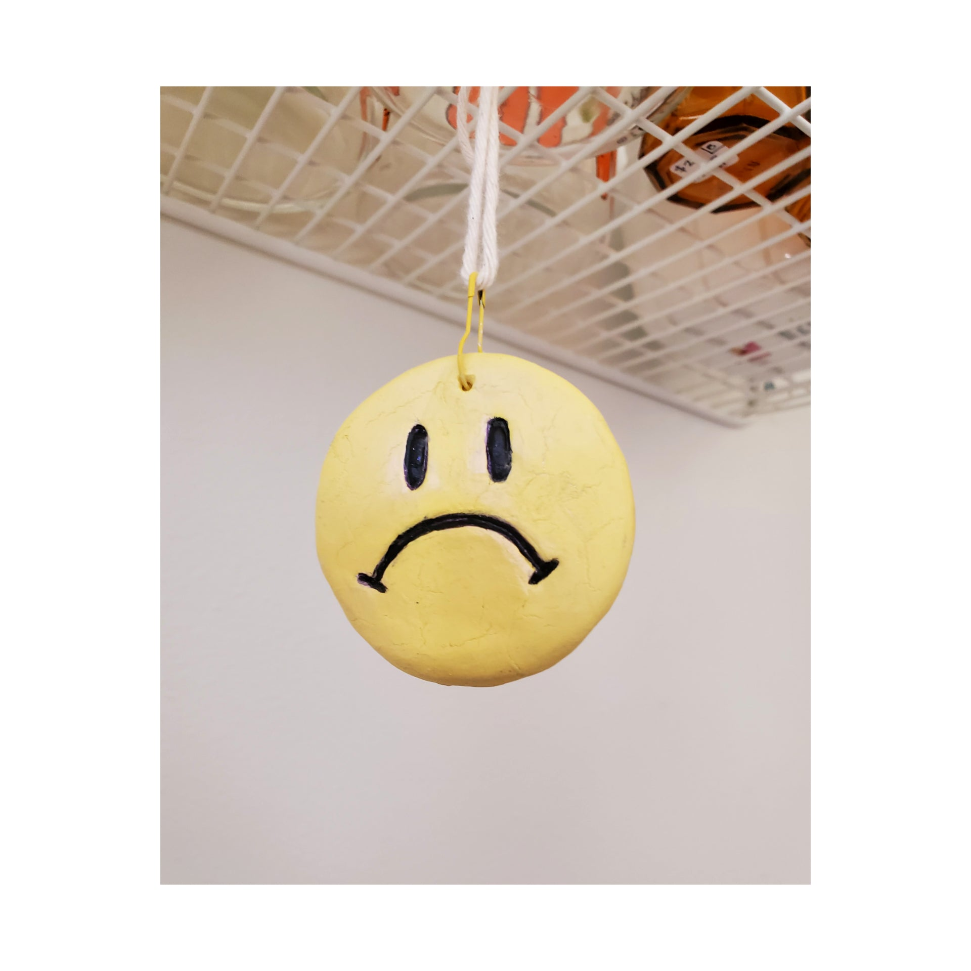 Handmade Unhappy Face Ornament