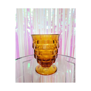Footed Amber Glass Cup