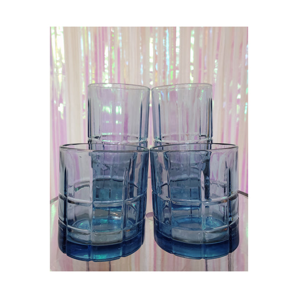 Blue Pressed Glasses by Anchor Hocking (Set of 4)