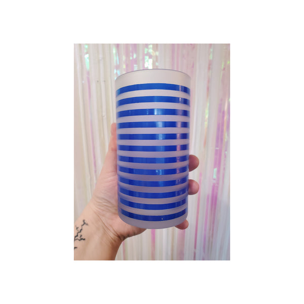 Blue Striped Tumbler Glasses (Set of 4)