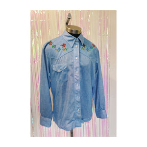 70's Painted Western Denim-Look Blouse