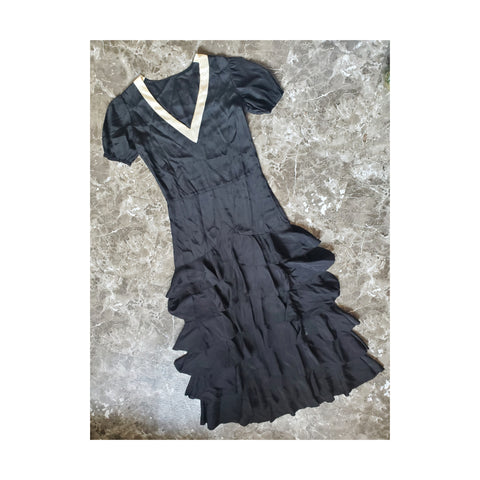 1920's Black & White Ruffled Silk Dress