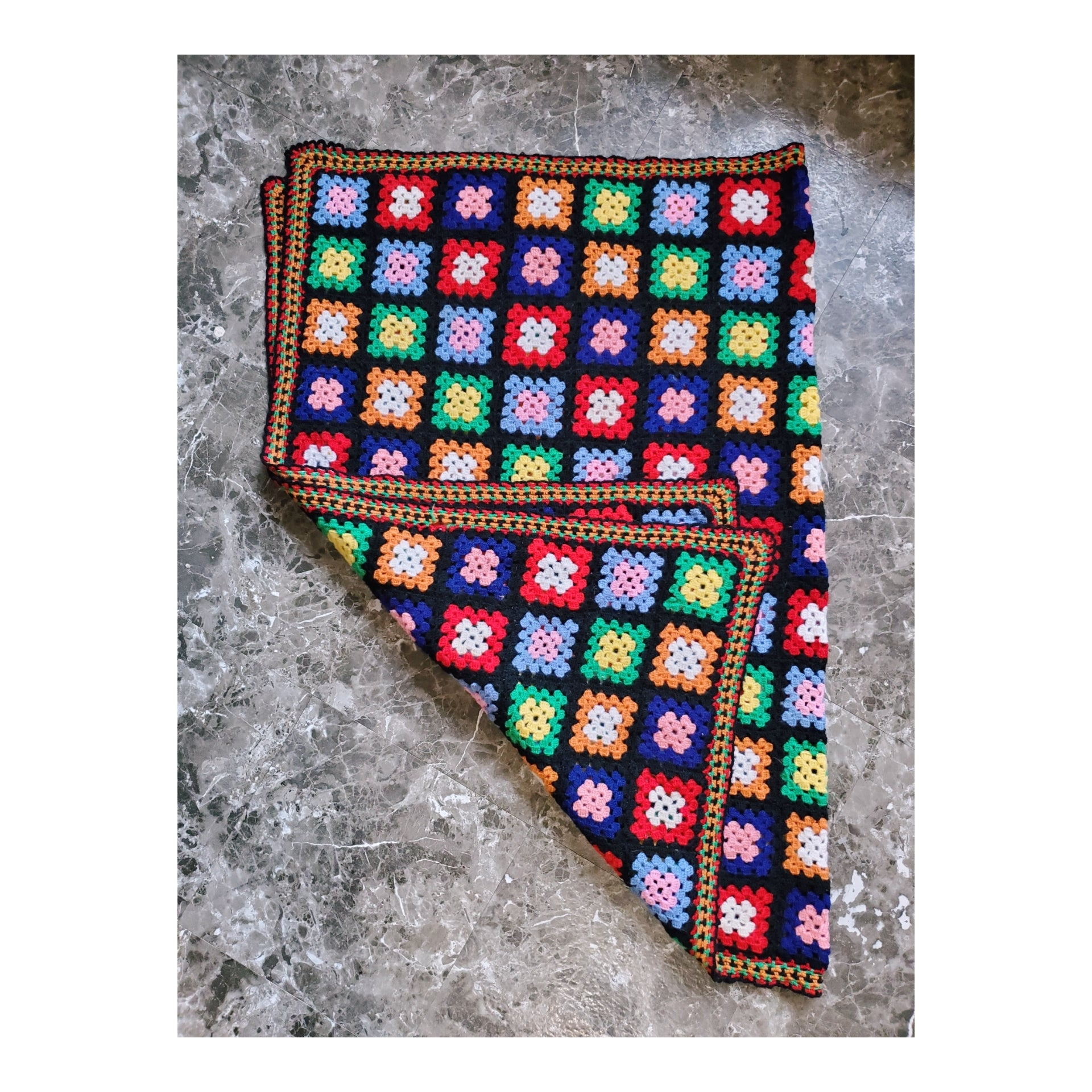 Hand-Crocheted Granny Square Blanket