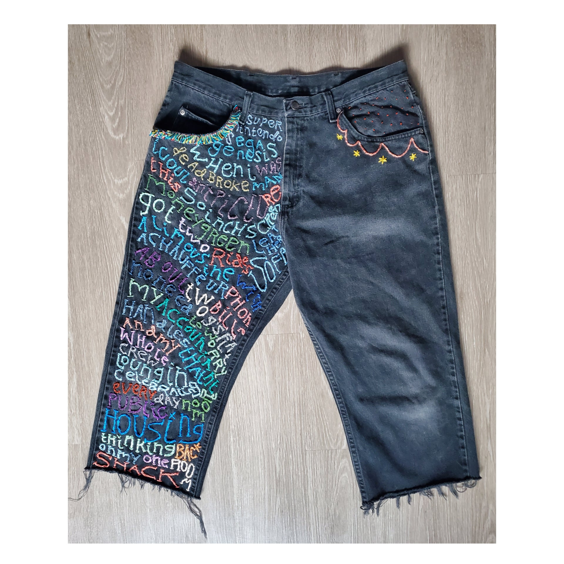 Hand Embroidered Artwear Jeans by Becky Bacsik
