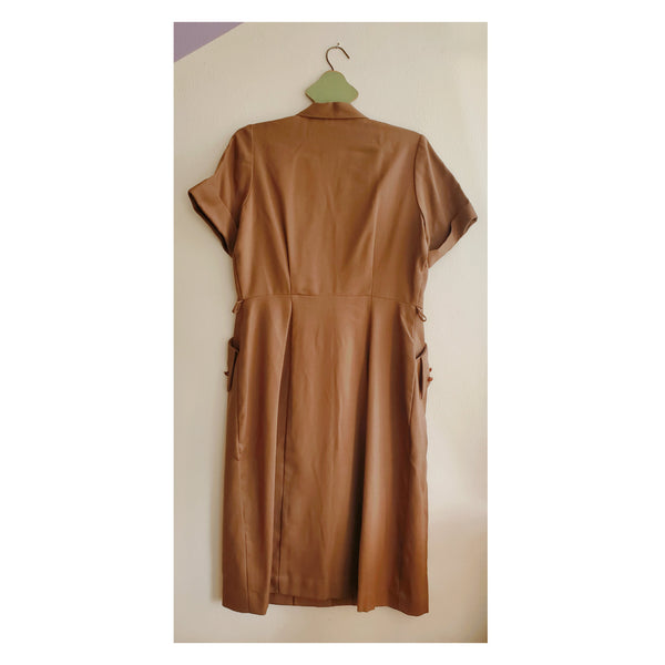 40's Deco Brown Dress with Button Detailing