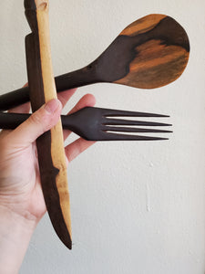 Hand Carved Decorative Wood Utensils (Set of 3)