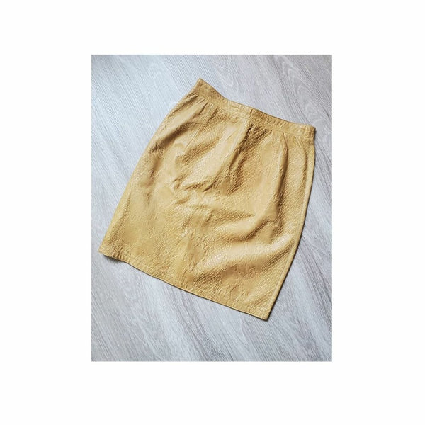 80's Valentino Boutique Python Embossed Leather Skirt