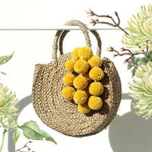 "Load image into Gallery viewer, Petite Luna ""Marigold"" - Round Straw Bag with Yellow tiered pom -poms"