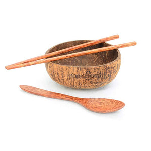 Coconut Bowl Set, Handmade (1 bowl, 1 spoon & 1 chopstick)