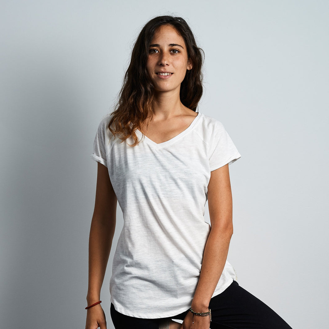 V- Neck Tee Wax Patch - Jasmine White