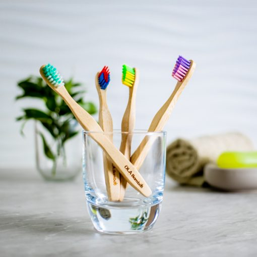 4-pack Kids Bamboo Toothbrushes